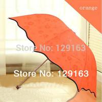 2014 New Women Long Handle Straight Three Folding Rain Umbrellas Water Blossom Princess For Women Orange  Sun Umbrella 7 Colors