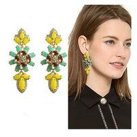 New arrival fashion brand jewelry yellow resin stone flower drop statement earrings vintage earrings for women, Free shipping