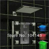 "L50027D/8 New 16"" LED Shower Head Luxury Rainfall Chrome Shower Set With Valve Tap Shower Set"