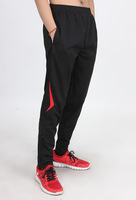 wholesale and retail 2014 Football soccer training leg ride sports pants trousers with zippers sweatpants for men