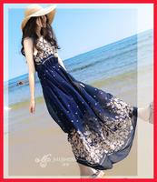 New 2014 hot sale cheap summer fashion Brand Dress ladies elastic print long beach maxi bohemian slim chiffon dresses for women