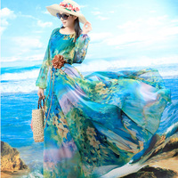 2014 women spring and summer blue flower print chiffon o-neck long-sleeve dress plus size clothing gorl maxi long dress
