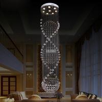 Free shipping luxury fashion spiral design modern large chandelier crystal lights Dia60*H200cm GU10 lustre crystal home lighting