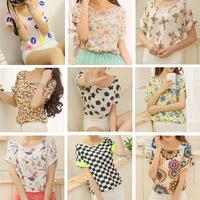 18 style 2014 summer short-sleeve women's chiffon shirt  Fashion bird  print pullover  FB041