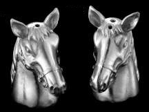Stainless Steel And Glass Wild Horse Head Salt & Pepper Pots Shakers Cruet Set Hunting Gift(China (Mainland))