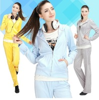 new arrive 2014 women spring and autumn new velvet Female sports leisure suit  with hat 7 colors free shipping