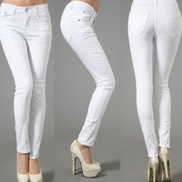 Elasticity Leisure Slim Cotton Plus Size White Draping Pencil Full Length Panelled Jeans Pants&Capris Trousers Women Clothing