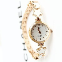 Hot Wholesale Fashion Style Casual Rose Gold Plated Star Moon Bracelet Womens Watches Free Shipping