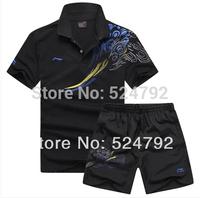 "Free shipping! 2014 Li Ning Germany table ""tennis"" shirts game T - shirts + shorts  ""tennis"" thanks men shirts L-5XL"