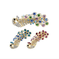 Free Shipping Hot Sale Rhinestone Peacock Barrette Jewellery Hair Accessories Hair Claws FS001