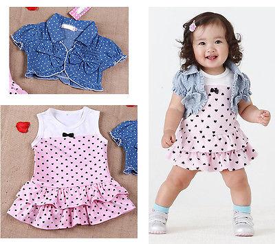 2Pcs Kids Clothing set Baby Girls Dress + Top Summer Beach Denim Waistcoat Outfits free shipping(China (Mainland))