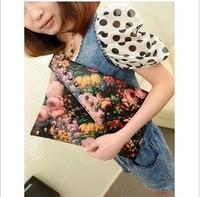 2013 oil painting flower trend rivet day clutch bag envelope bag one shoulder cross-body women's handbag