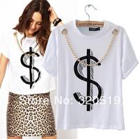 Fashion Women's 2014 Brand New Gold Color Chain Necklace Deco US Dollar Symbol Print Short Sleeve T shirt Shirts T-shirt