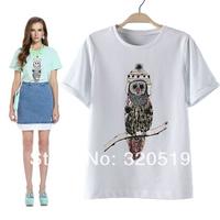 2014 Fashion Ladies Cartoon Owl Print Short Sleeve T shirt 3 colors SML preppy chic T-shirts