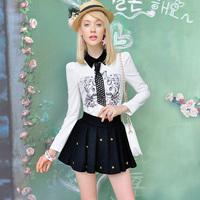 Pink Doll Brand New Spring And Summer 2014 Women's Fashion Black Retro Print Upright Collar White Shirt