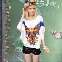 Pink Doll Brand New Spring And Summer 2014 Women's Fashion Loose White Elephant Stamp Students Long Sleeve T-Shirt Bat