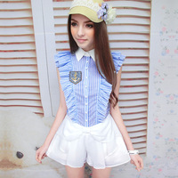 Pink Doll Brand New Fashion Spring And Summer 2014 Women's Blue And White Striped Shirt Sleeve Fly