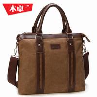 Wood male handbag canvas bag male shoulder bag male business casual school bag male messenger bag