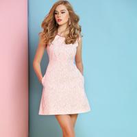 Grokked 2014 summer hemming o-neck gold zipper lace one-piece dress