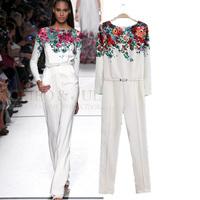 New Fashion women's elegant flower print  jumpsuit pants long sleeve slim pants prom brand designer dress jumpsuit with belt