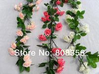 "1P 1.7m/66.93"" Length Artificial Silk Flowers Korean Dense Small Roses Flower Cane Rattan Rose Vine Home Decoration Supplies"