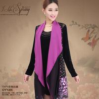Women Spring Long Sleeved Velvet Velour Dress Retro Luxury Plover Pattern Embroidered Cardigan Two-piece Plus Size Dress