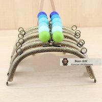 Fashion 16.5cm Bronze Color Candy Flower Big Ball of the Purse Frame/women handmade Coin Purse handl bag