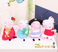Brazil Free 4pcs/lot Peppa Pig Toys Peppa Pig Plush Ballet Pirates George Pig Peppa Pig Family Movie TV Plush Toy High Quality