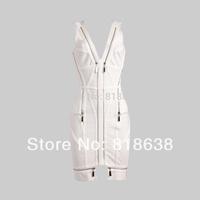 black v neck zipper  celebrity dress  - bandage dresses 2014 new arrival party dress dropshipping wholesale white