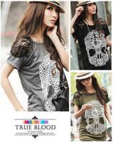 skull shirt new 2014 Women korean style Skull Lace t shirt Short Sleeve Cotton tee shirts Top S,M,L Black,White,Grey t-shirts