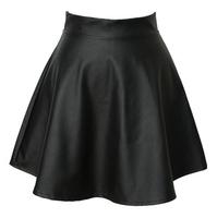 new 2014 Fashion Summer spring Korean womens tutu skirts female high waist pleated PU leather skirt punk bust PU women skirt