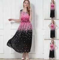 Summer Dress New 2014 Women Tank Chiffon Long Dress Sakura Style Women Clothing Casual Dresses Plus Size S-XL