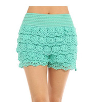 High Quatliy  Free Shipping XXL Full Cotton Lace Knitted Crochet Tiered Fashion Women's Mini Shorts Skorts Safety Pants