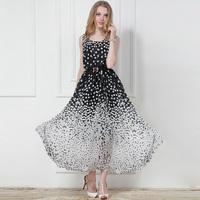 2014 New women long dress elastic waist black and white color block full dress exquisite belt spring and summer dress