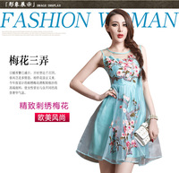 2014 spring and summer women's fashion organza embroidery pattern gauze vest one-piece dress short skirt