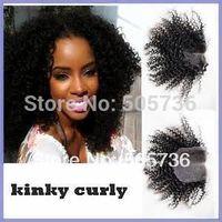 "Brazilian Virgin Lace Top Closure 4x4"" 100% Unprocessed hu-woman Hair bleach Knot kinky curly Free shipping"