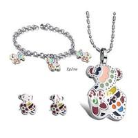 1 Set Of Fashion Women Jewelry Set Stainless Steel Colorful Cute Teddy Bear Pendant Necklace&Bracelet&Earring,Fiancee Wife Gifts