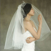 White Or Ivory 2T Bridal Cut Edge Veils Wedding dress Accessories Veil With Comb
