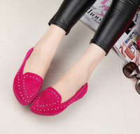 2014 spring shoes fashion velvet rivet flat casual shoes female pointed toe vintage low flat