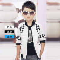 Retail 2014 new arrival boy children plaid patch fashion jacket outerwear kids spring&autumn casual waterproof zipper coat C1052