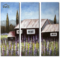 Hand-painting the new home combination triple oil painting, minimalist living room, lavender
