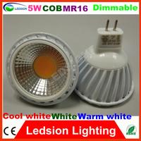 4Pcs/lot High Power Ultra Bright MR16 Led COB Bulb 60 Degrees 500lm Light 5W Cool WarmWhite lamp bathroom light CE & RoHS DC12V