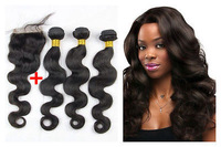 "4pcs/lot middle part (4""x 4"") top lace closure with3bundles body wave hu-woman hair extension weave brazilian peruvian malaysian"