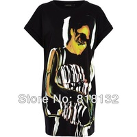 2014 Summer New Women, Wild Beauty Pattern Cotton Dress Black Free shipping T0002