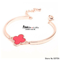 Free shipping fashion lucky clover bangle bracelet cute male alloy
