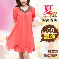 Mm summer plus size clothing plus size one-piece dress loose short-sleeve chiffon long design one-piece dress