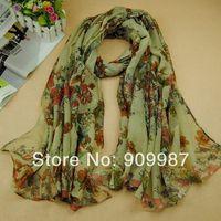 women printe popular shawls hijab printe flower birds Bohemia long popular scarf/scarves 5pcs/lot.180*100cm