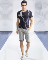 The new 2014 European and American fashion leisure men's short sleeve T-shirt cotton short sleeve T-shirt