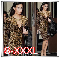 2014 S-3XL Leopard Bandage Vestidos Crazy Sexy Low-cup Hot Women Dress Evening Party Gowns Night Club Wear Brand  Dress