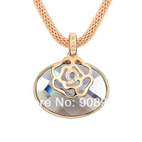 High Quality Necklace New 2015  Design Oval Necklace Pendant  For Women 18K  Gold Plated  7845